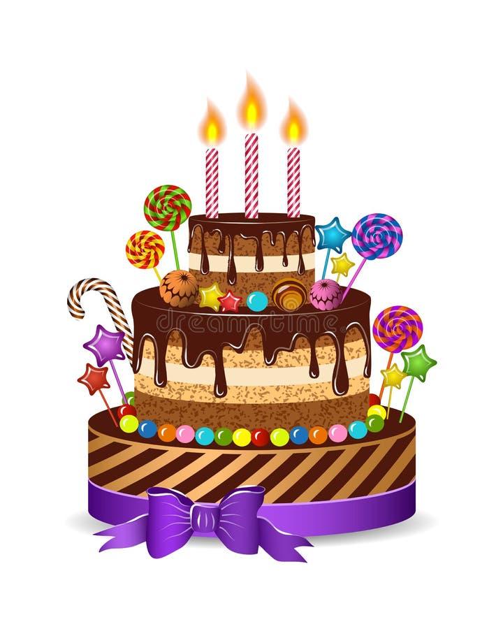 Wakacje tort dla dzieci gratulować urodziny, odizolowywa i ustawia świeczki, cukierek, czekolada, karmel, wektorowa ilustracja ilustracja wektor