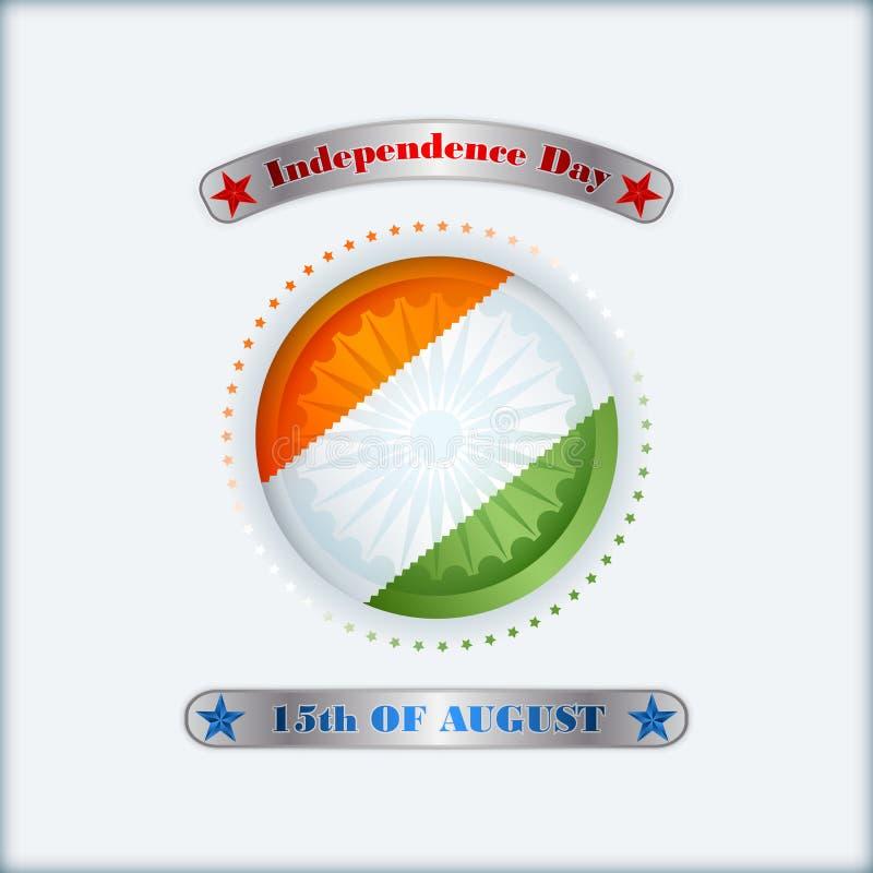 Wakacje układu szablon z pomarańcze, biel, zieleni kolory na flaga państowowa dla fifteenth Sierpień, Indiański dzień niepodległo ilustracja wektor