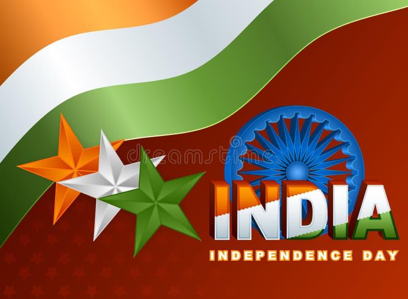 Wakacje układu szablon z pomarańcze, biel, zieleni kolory na flaga państowowa dla fifteenth Sierpień, Indiański dzień niepodległo ilustracji