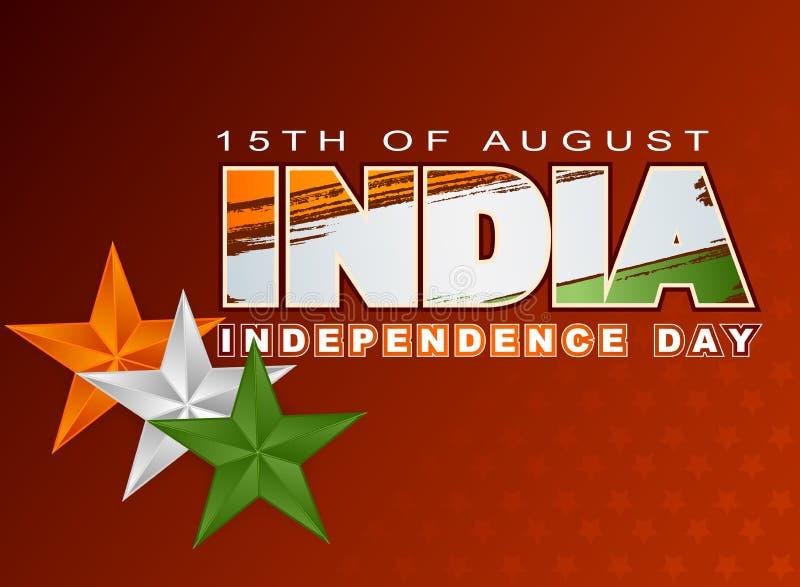 Wakacje układu szablon z pomarańcze, biel, zieleni kolory na flaga państowowa dla fifteenth Sierpień, Indiański dzień niepodległo royalty ilustracja