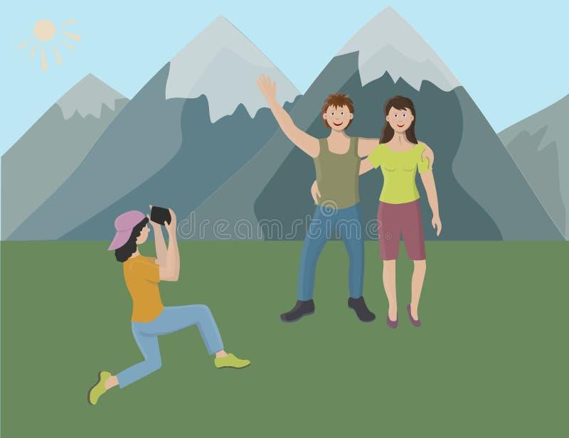 Wakacje w górach ilustracji