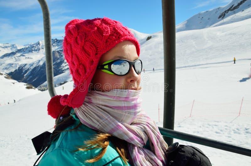 Wakacje w zim górach fotografia stock