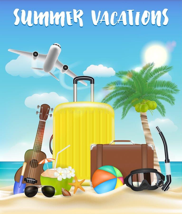 Wakacje z torby i plaży podróży przedmiotem royalty ilustracja