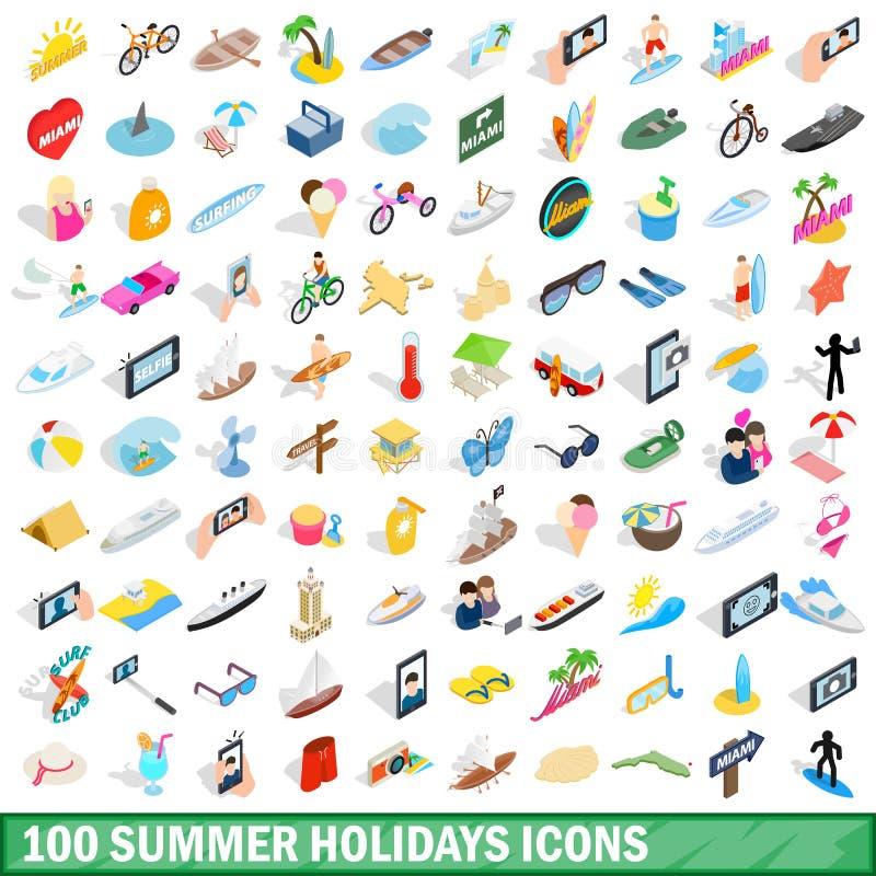 100 wakacji letnich ikon ustawiających, isometric 3d styl ilustracji