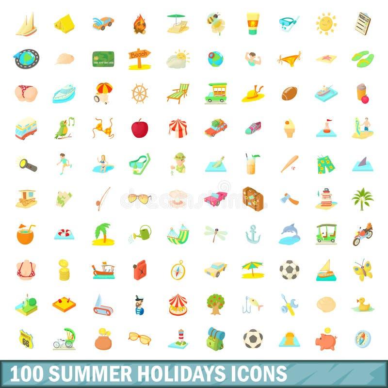 100 wakacji letnich ikon ustawiających, kreskówka styl ilustracja wektor