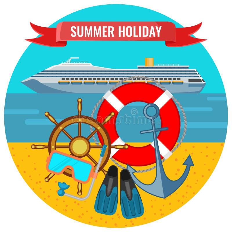 Wakacji letnich plakaty z podróżowaniem pływają statkiem liniowa, lifebuoy royalty ilustracja