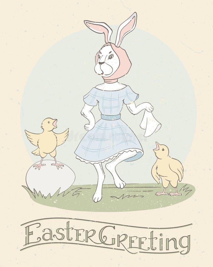 Wakacyjna kartka z pozdrowieniami z ręki literowaniem, ślicznym dancingowym Wielkanocnym królik i dwa śpiewaccy kurczaki szczęśli royalty ilustracja