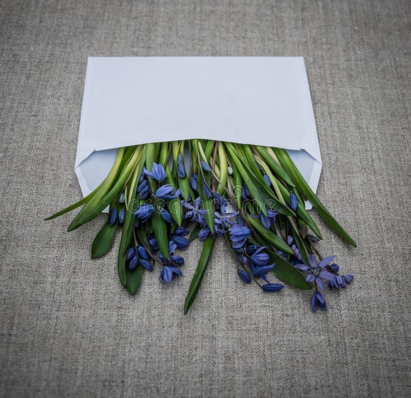 Wakacyjna powitanie koperta i bukiet kwiaty obrazy royalty free