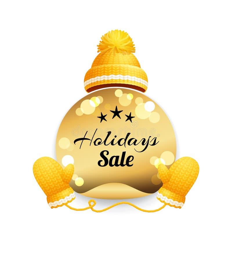 Wakacyjna sprzedaż, Trykotowy kapelusz z Pom-Pom wektoru ikoną ilustracja wektor