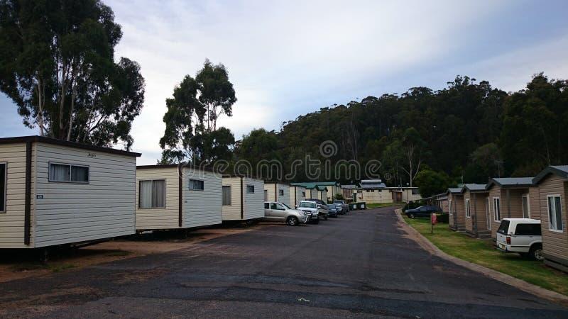 Wakacyjne kabiny @ Eden, Australia zdjęcia stock