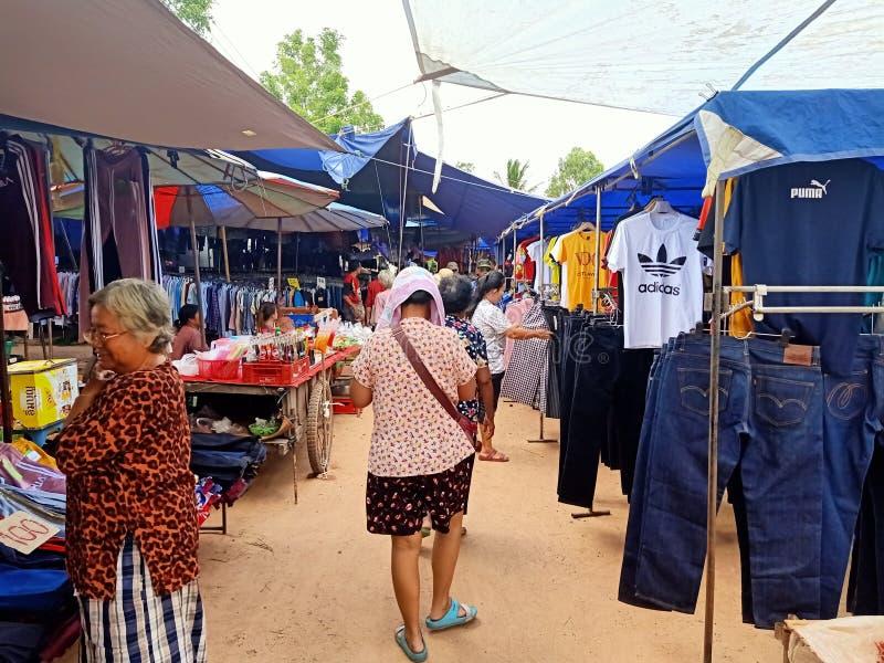 wakacyjnego miejscowego rynku Thailand esan ludzie obraz royalty free
