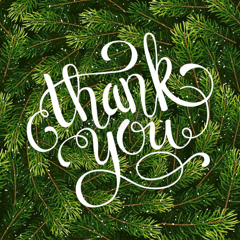 Wakacyjnego prezenta karta z ręki literowaniem Dziękuje Ciebie na Bożenarodzeniowym jedlinowym gałąź tle ilustracji