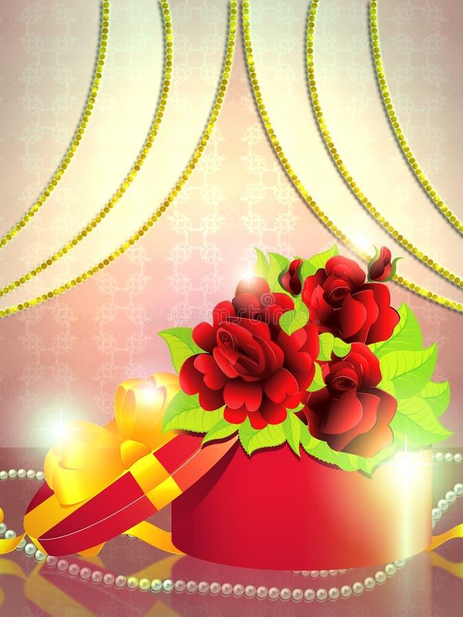 Wakacyjnego prezenta pudełko z różami ilustracja wektor