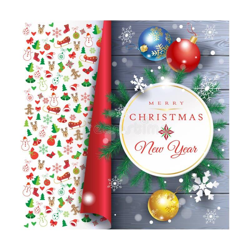 Wakacyjnej Bożenarodzeniowej dekoraci jedlinowego drzewa piłek plakatowi płatki śniegu ilustracja wektor