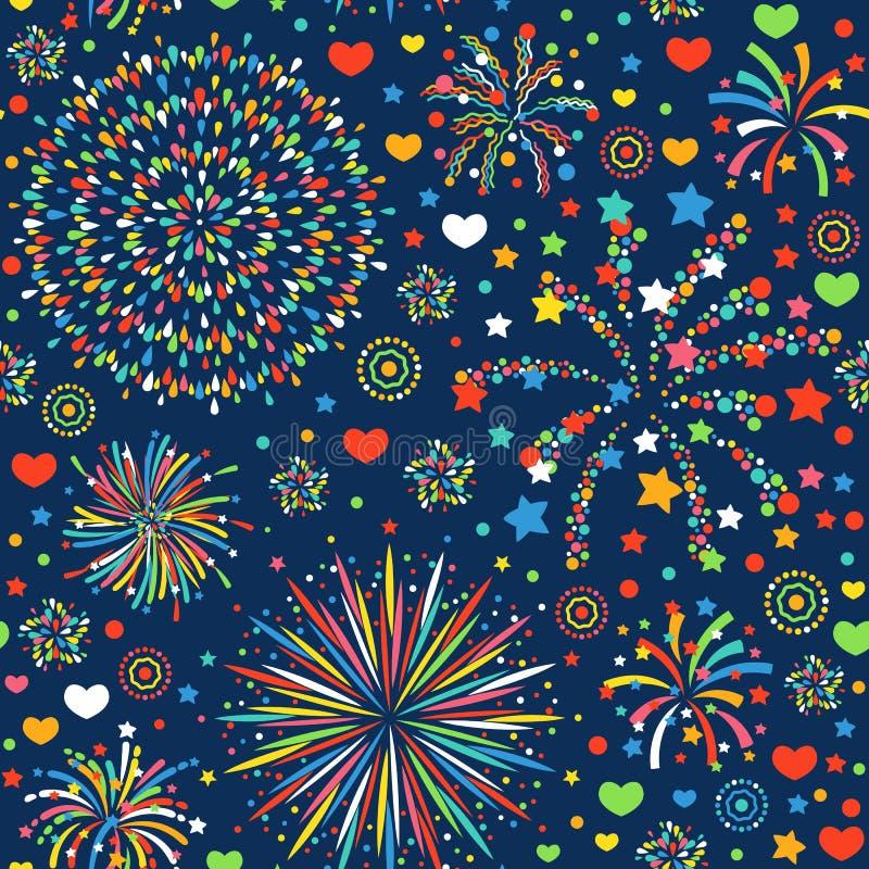 Wakacyjnej fajerwerku projekta tła świętowania bezszwowej deseniowej abstrakcjonistycznej dekoraci tekstury wektoru jaskrawa ilus royalty ilustracja