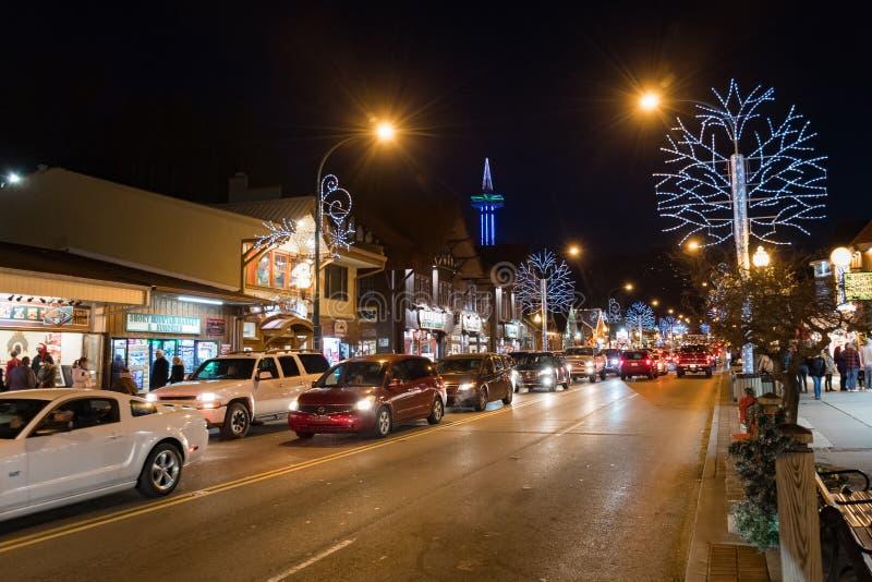Wakacyjni światła dekorują Gatlinburg Tennessee obraz stock