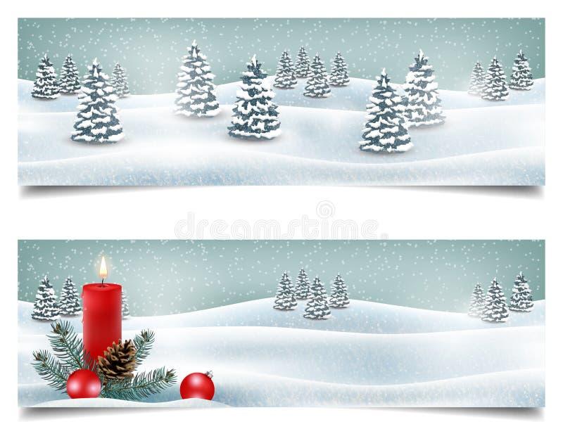 Wakacyjni Bożenarodzeniowi horyzontalni sztandary z zima krajobrazem ilustracja wektor