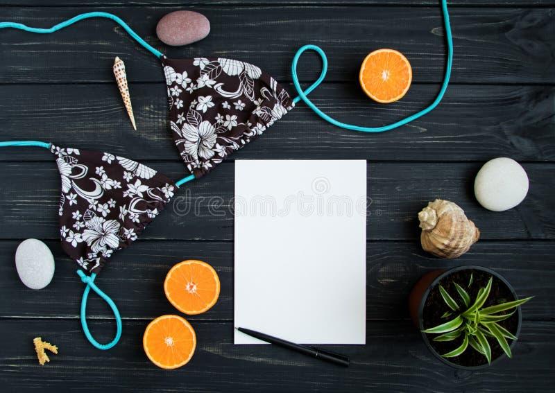 Wakacyjni elementy: swimsuit, kamienie, seashells, owoc Podróżuje fotografię, mieszkanie nieatutowy, odgórny widok obraz royalty free