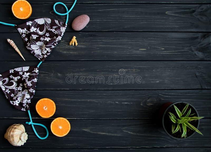 Wakacyjni elementy: swimsuit, kamienie, seashells, owoc Podróżuje fotografię, mieszkanie nieatutowy, odgórny widok obraz stock