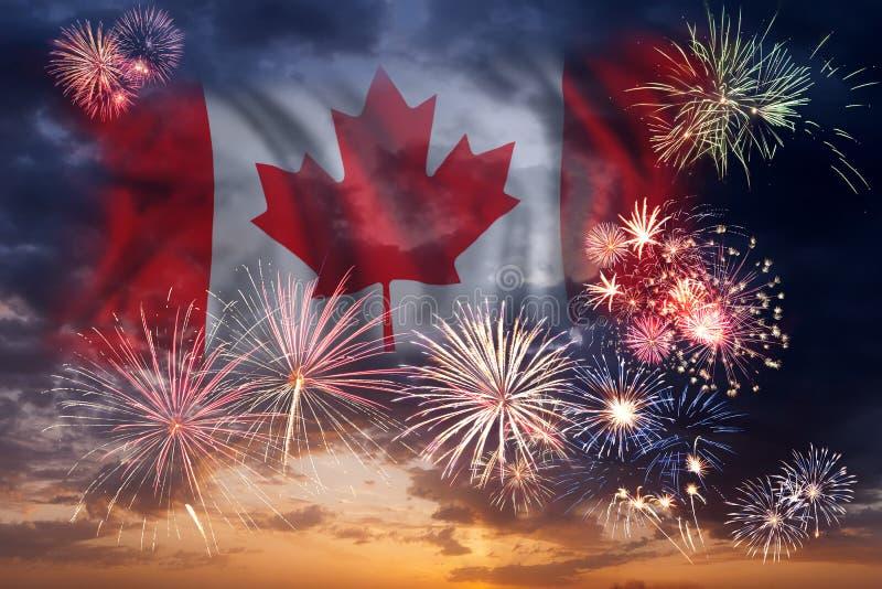 Wakacyjni fajerwerki na dniu Kanada fotografia royalty free