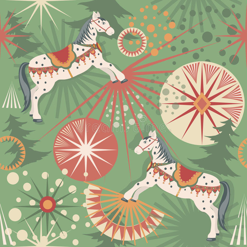Wakacyjni konie ilustracji