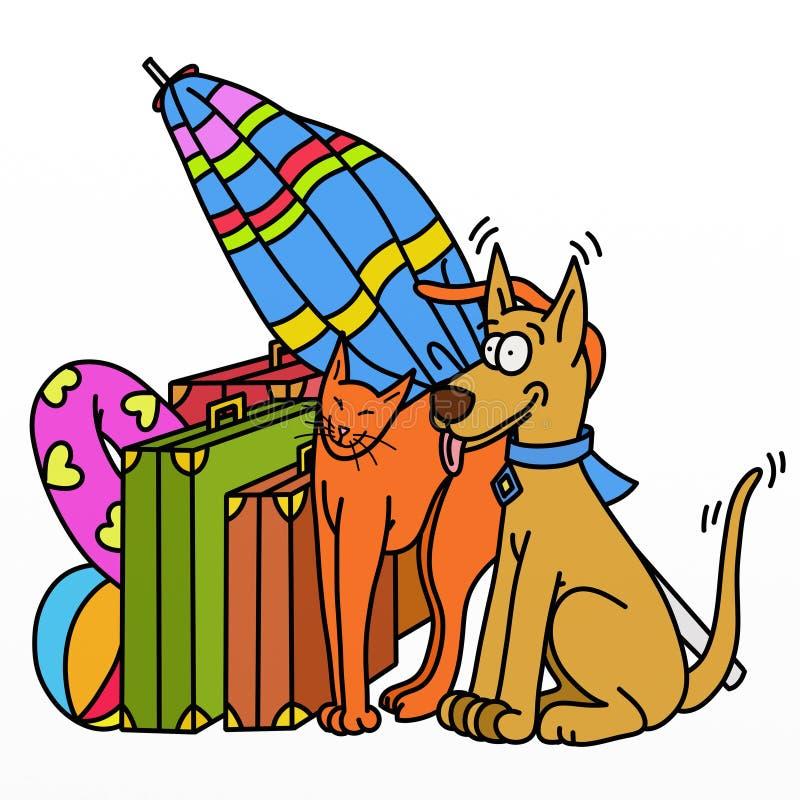 wakacyjni kotów psy royalty ilustracja