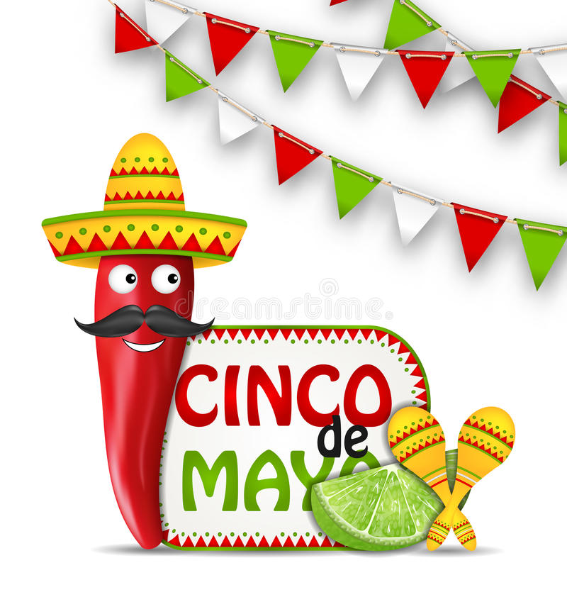 Wakacyjny świętowania tło dla Cinco De Mayo ilustracja wektor