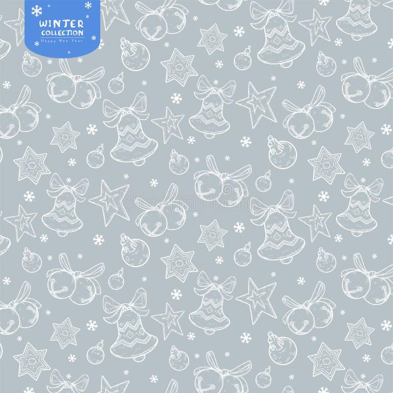 Wakacyjny bezszwowy wzór z dzwonami, Bożenarodzeniowymi piłkami i gwiazdami w białych kolorach na srebnym tle, ilustracja wektor