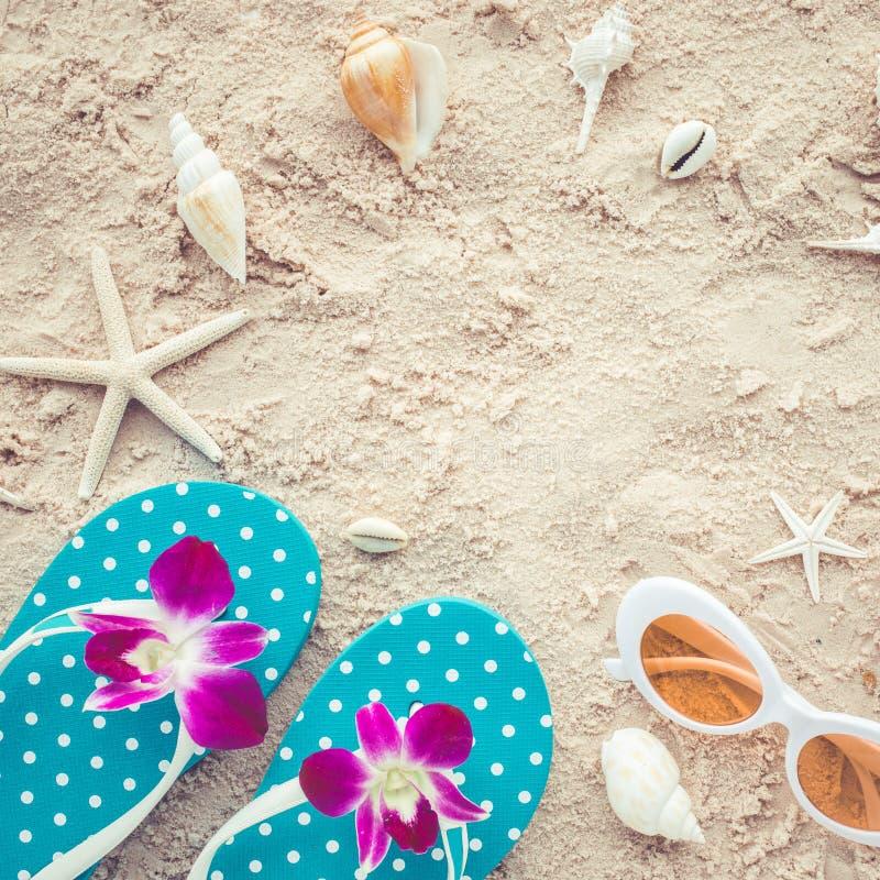 Wakacyjny lata pojęcie z sandałami, okulary przeciwsłoneczni i skorupy na plaży obraz royalty free