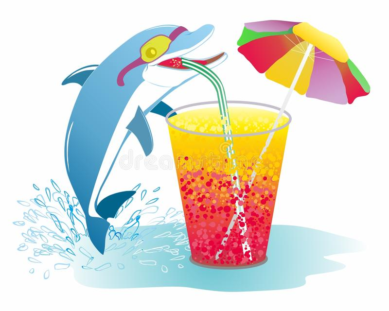 Wakacyjny o temacie, delfinu lato, napój royalty ilustracja