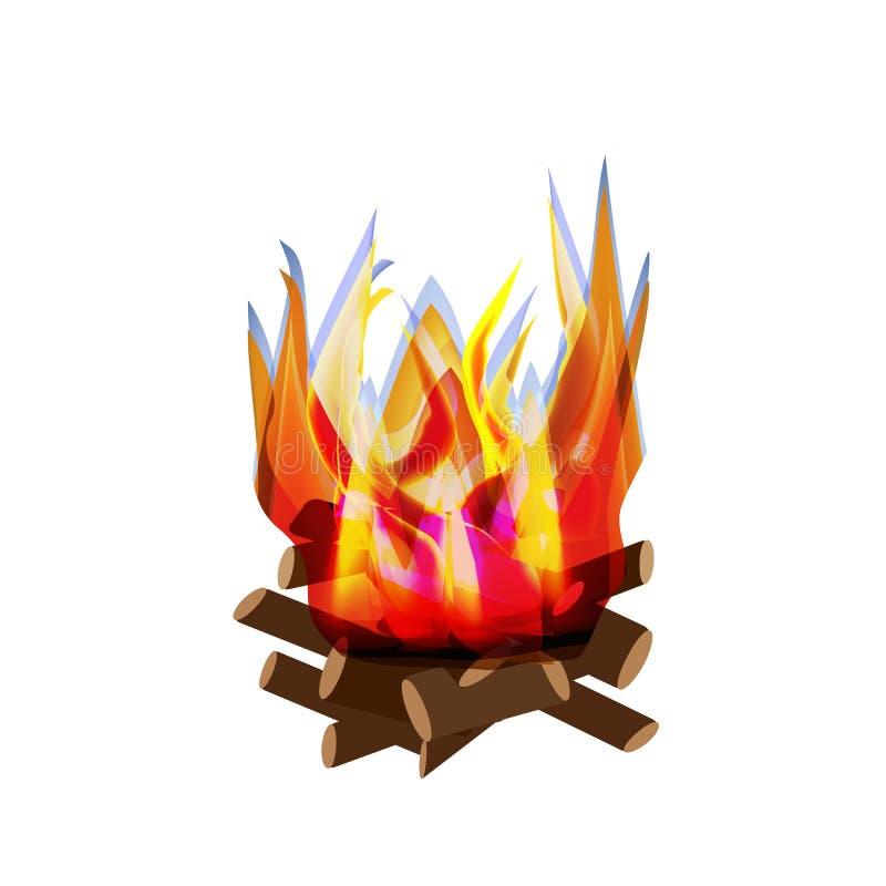 Wakacyjny opóźnienie półdupków ` Omer Opóźnienie Baomer wielkie ognisko Ogień jest jaskrawy grill Wektorowa ilustracja na odosobn ilustracja wektor