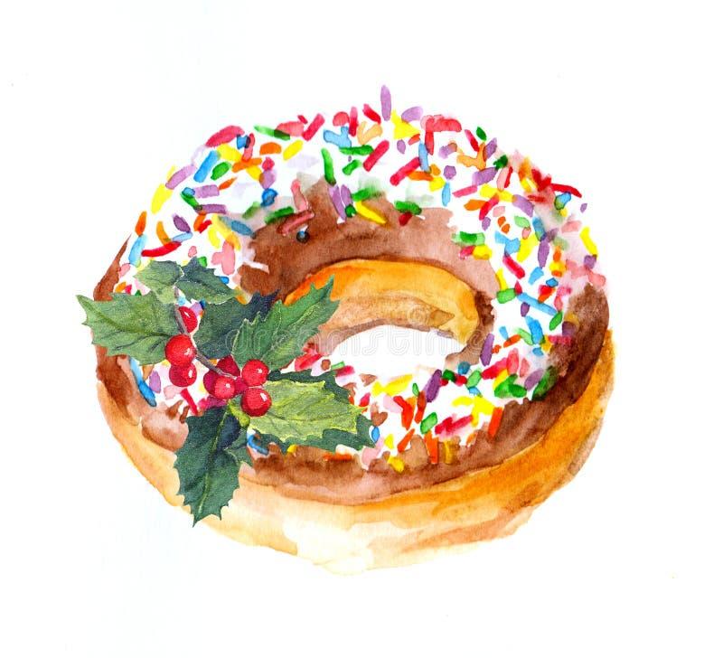 Wakacyjny pączka tort z kropi polewę, boże narodzenie jemioła akwarela obrazy royalty free