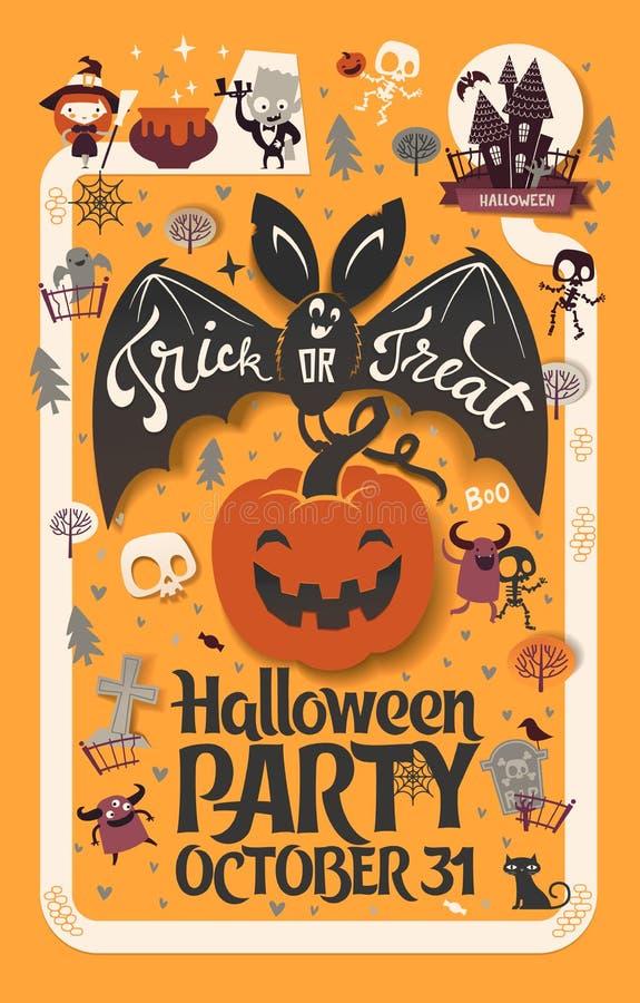 Wakacyjny Szczęśliwy Halloweenowy ulotka szablon z śmiesznej kreskówki uśmiechniętym nietoperzem z rozszerzań się skrzydłami i li royalty ilustracja
