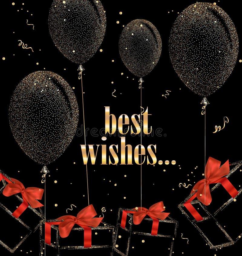 Wakacyjny tło z abstrakcjonistycznymi prezentów pudełkami, lotniczymi balonami i czerwonymi jedwabniczymi łękami, ilustracji