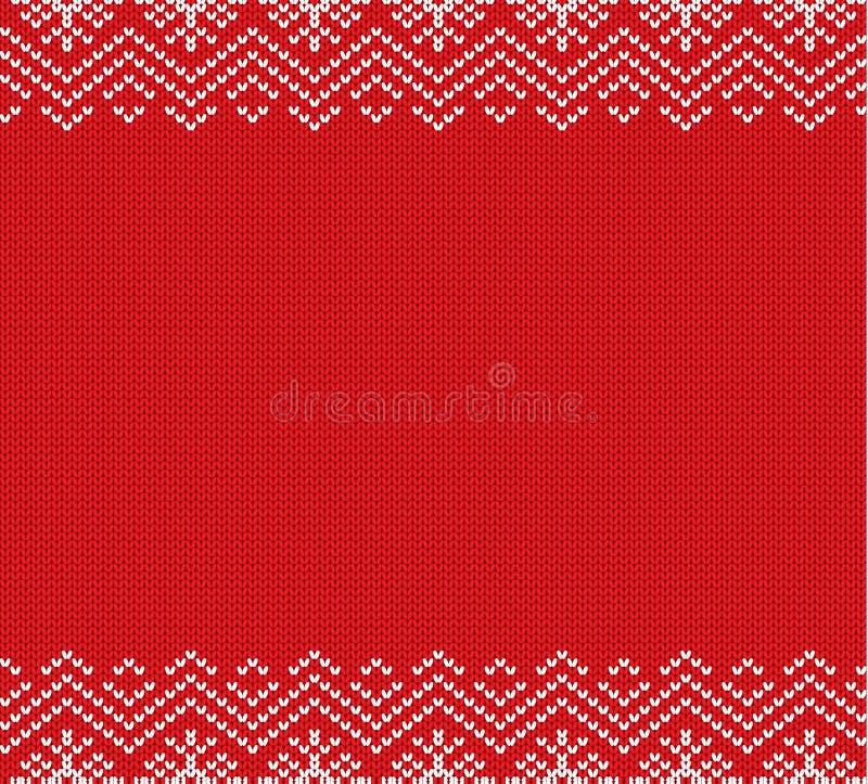 Wakacyjny trykotowy czerwony ornamentu projekt z pustą przestrzenią dla teksta boże narodzenia deseniują bezszwowego ilustracja wektor