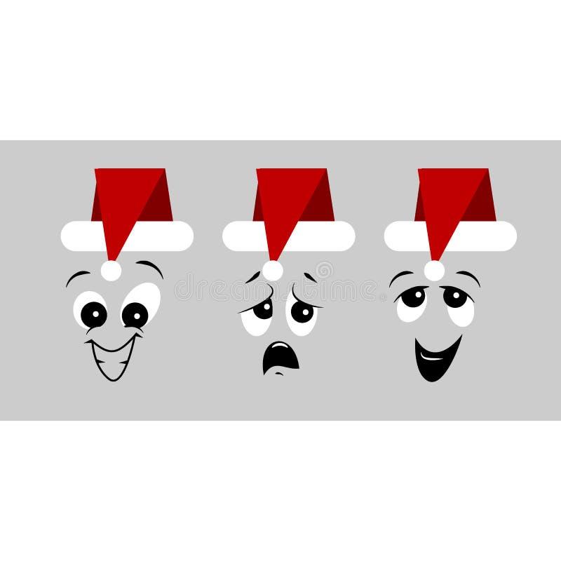 Wakacyjny ustawiający Bożenarodzeniowe emoticon ikony również zwrócić corel ilustracji wektora ilustracja wektor