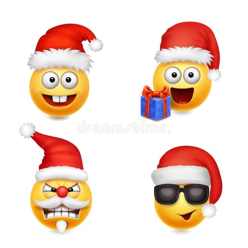 Wakacyjny Ustawiający Smiley twarzy emoticons boże narodzenia Święty Mikołaj royalty ilustracja
