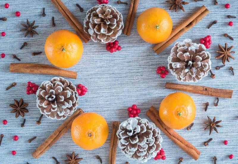 Wakacyjny wianku przygotowania pomarańcze, sosnowi rożki, pikantność i czerwone jagody, zdjęcia stock