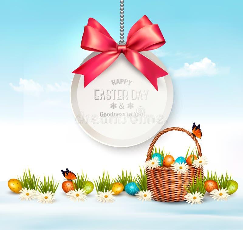 Wakacyjny Wielkanocny tło z jajkami w koszu ilustracja wektor