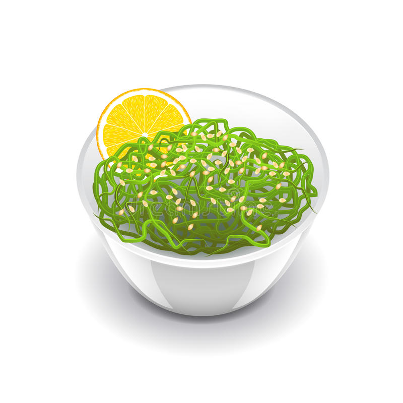 Wakame salad on white vector. Wakame salad on white photo-realistic vector illustration royalty free illustration