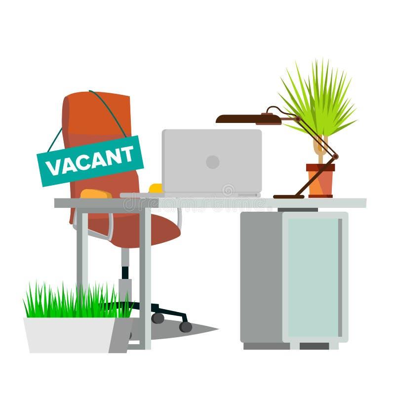 Wakata pojęcia wektor tła krzesła meble odizolowywający biura tematu biel Wakata znak puste siedzenie Biznesowa rekrutacja, HR Pu ilustracja wektor