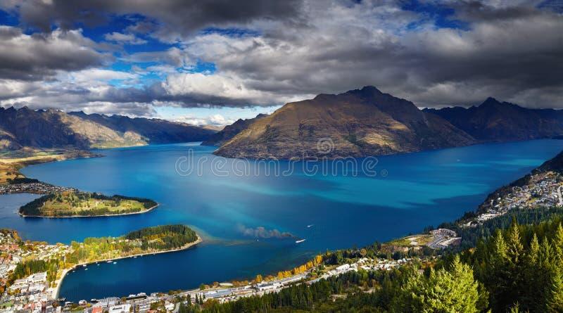 Wakatipu湖,新西兰 免版税库存图片