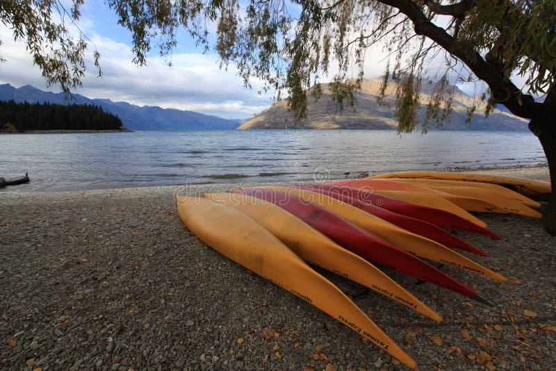 Wakatipu del lago nella stagione del authumn fotografia stock libera da diritti
