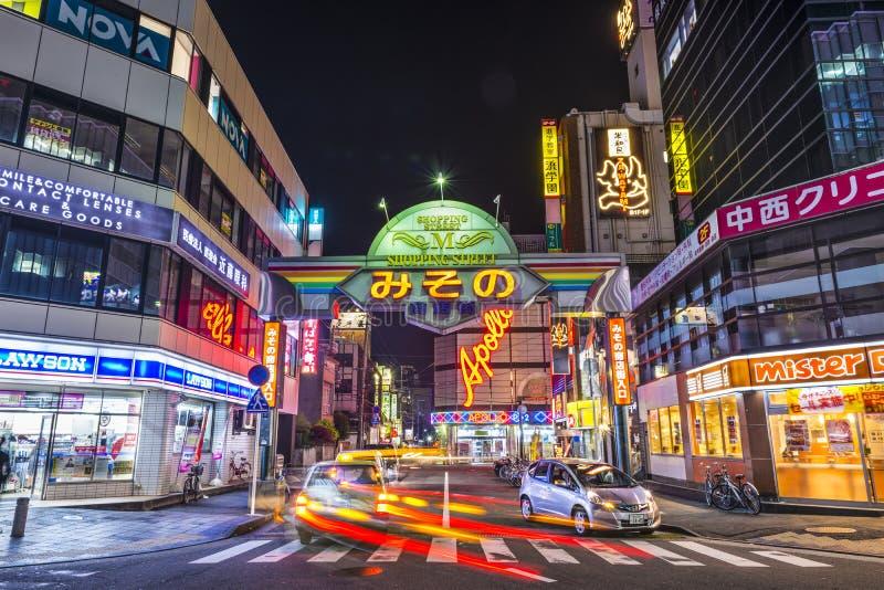 Wakayama, район ночной жизни Японии стоковое фото