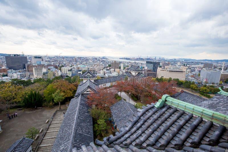 Wakayama City view from Wakayama Castle rooftop, Japan stock photo