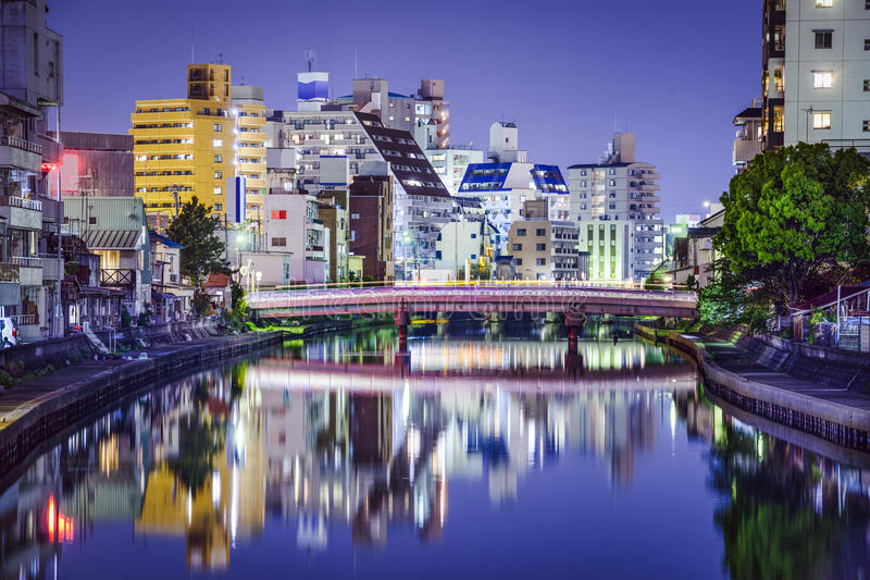 Wakayama, paisaje urbano de Japón fotografía de archivo