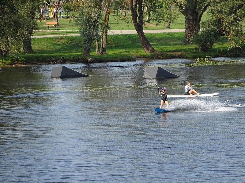 Wake-boarding Center Park With Springboard For Surfing Jumping. Water Sport Recreation and Entertainment Center stock photos