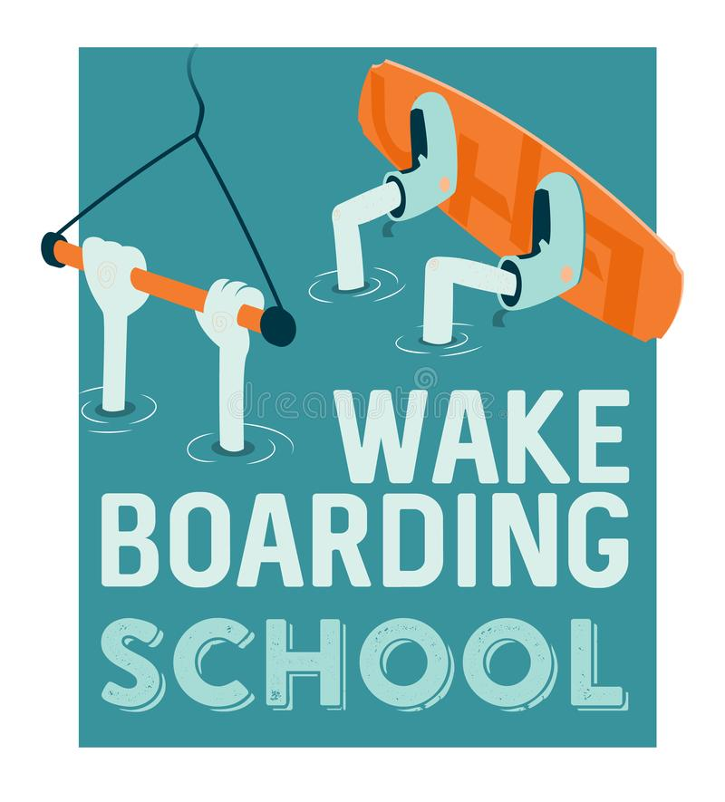 Wake boarding school poster. Design cartoon style stock illustration