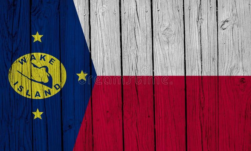 Wake Island Flag über Holzplanks lizenzfreie stockfotos