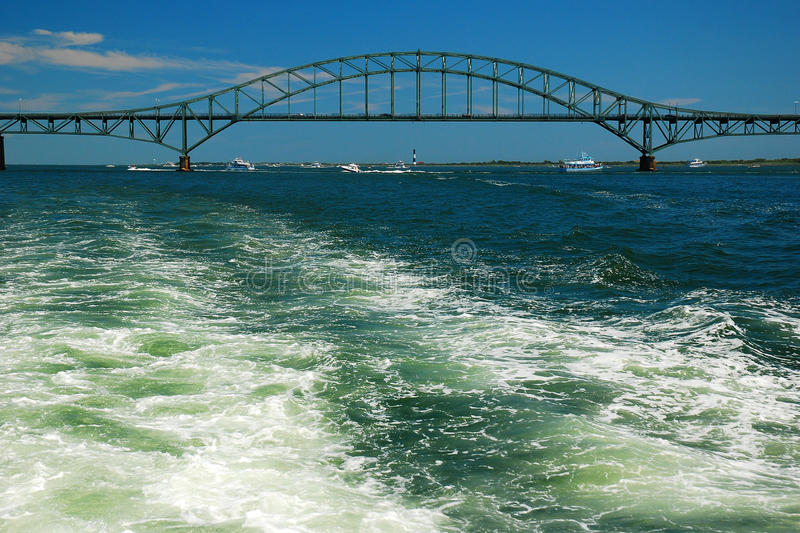 In the wake. Robert Moses Causeway stretches over the Great South Bay in Long Island, New York royalty free stock photography